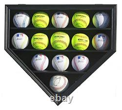 14 Softballs or Baseball Cubes Display Case Cabinet Wall Rack Home Plate Shaped