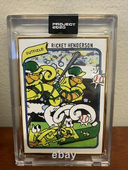 1/1 Gold Frame Topps Project 2020 Rickey Henderson Card #168 By Ermsy With Box