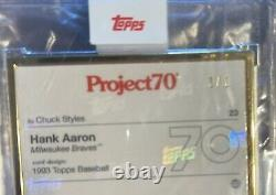 1/1 Topps PROJECT 70 #23 Hank Aaron GOLD FRAME ULTRA RARE -Chuck Styles