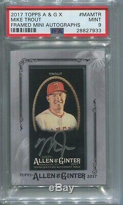 2017 Mike Trout Topps Allen & Ginter AUTO X FRAMED MINI SILVER INK SP PSA 9 MINT