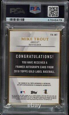 2018 Topps Gold Label Framed Black Mike Trout AUTO /15 #FA-MT PSA 9 MINT