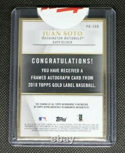 2018 Topps Gold Label Juan Soto Auto RC Framed Autograph Rookie Baseball Card