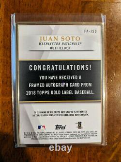 2018 Topps Gold Label Juan Soto Framed RC Auto