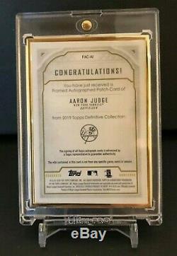 2019 Topps Definitive Aaron Judge Gold Framed Patch Autograph #1/3 Purple Auto