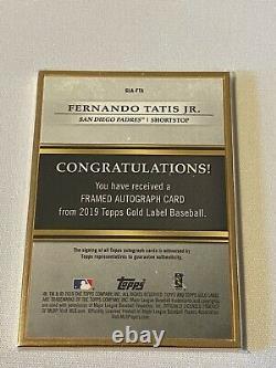 2019 Topps Gold Label Fernando Tatis Jr. Rookie Gold Frame Auto Autograph Padres