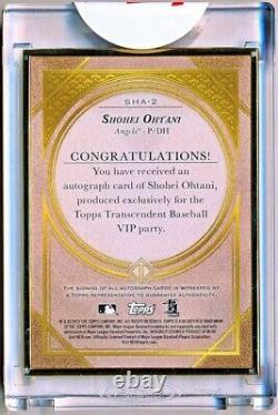 2019 Topps Transcendent Shohei Ohtani Gold Framed Autograph Auto #SHA-2 (05/10)