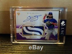 2020 Topps Definitive BO BICHETTE RC ON-CARD AUTO GOLD FRAME PATCH, PURPLE 4/10