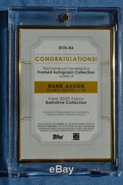 2020 Topps Definitive Hank Aaron HOF'er Gold Frame Auto #/10 Sweet On Card Auto