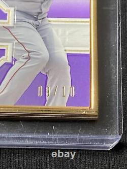 2020 Topps Definitive Rafael Devers Patch Auto Gold Framed Purple #09/10 Red Sox