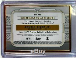 2020 Topps Definitive Ronald Acuna Jr. Gold Framed Patch Auto Purple SSP 05/10