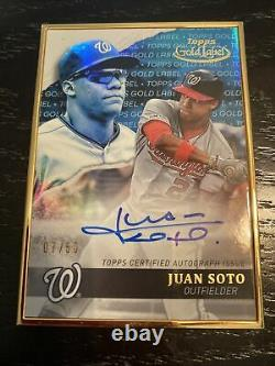 2020 Topps Gold Label Nationals Juan Soto Framed Auto Card Blue /50 Wow