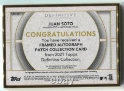 2021 Juan Soto Topps Definitive AUTO LOGO PATCH GOLD FRAMED RED 1/1 Nationals