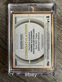 2021 Topps Definitive BUSTER POSEY Gold Framed Patch Auto 1/1 True 1 of 1