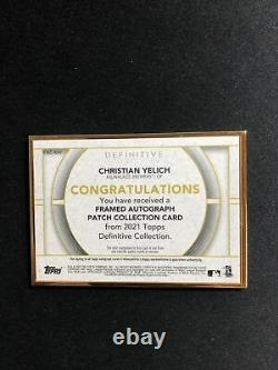 2021 Topps Definitive Christian Yelich Gold Framed Patch Auto /25 Brewers