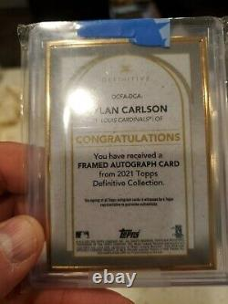 2021 Topps Definitive Dylan Carlson Auto Gold Framed Rookie Card In Mint 12/30