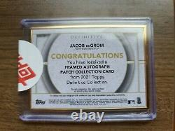 2021 Topps Definitive Jacob DeGrom Gold Framed Patch Auto 06/10