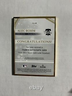 2021 Topps Gold Label Framed Alec Bohm Blue 30/50 Rookie Auto FA-AB Phillies