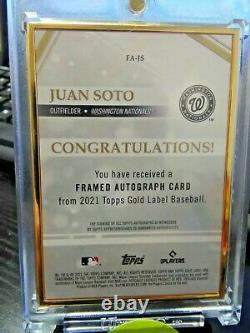2021 Topps Gold Label Juan Soto Framed Auto Blue #10/10