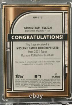 2021 Topps Museum Collection Christian Yelich Gold Framed Auto 04/10 CASE HIT