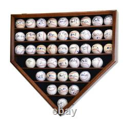 43 Baseball Ball Display Case Cabinet Holder Rack Home Plate Shaped with98% UV Pro