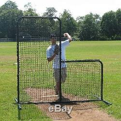7' x 7' Commercial Baseball Pitcher's L-Screen Frame with #36 P. E. Pillowcase Net
