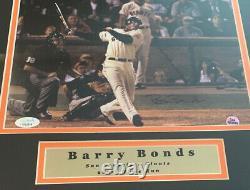 Barry Bonds Autographed Giants 11x14 Framed Baseball Photo 600 Home Run JSA