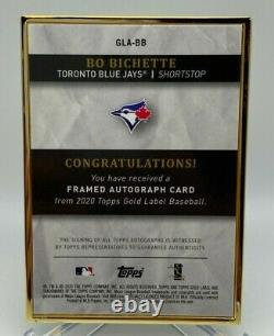 Bo Bichette 1/1 RC On Card Auto 2020 Topps Gold Label Blue Jays True Rookie 1/1