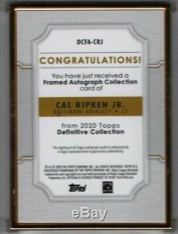 Cal Ripken Jr. 1/10 Gold Frame Purple Auto 2020 Topps Definitive Iron Man Balt