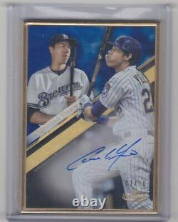 Christian Yelich 2019 Topps Gold Label Framed Auto Blue #d/10 Milwaukee Brewers
