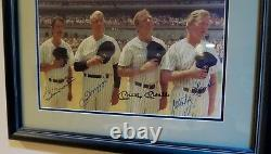 FRAMED MICKEY MANTLE JOE DiMAGGIO WHITEY FORD BILLY MARTIN AUTOGRAPHED PHOTO