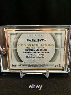 Freddie Freeman 2021 Topps Definitive #2/10 Gold Framed Auto Game-Used Patch
