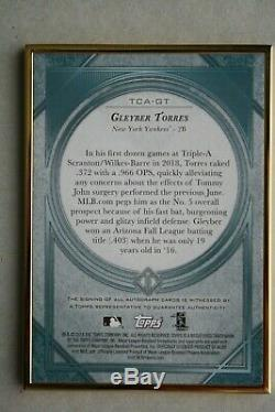 Gleyber Torres 2018 Topps Transcendent Gold Frame Auto RC #'d 03/25 Mint! HOT