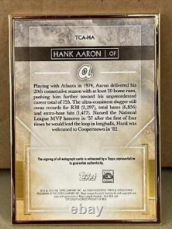 Hank Aaron 2020 Topps Transcendent Gold Framed Auto #/25. Atlanta Braves