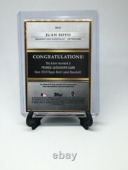 Juan Soto 2019 Topps Gold Label Framed Auto 11/15 #gla-js Rc Autograph