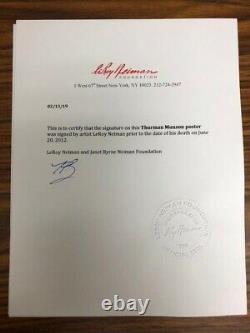 LeRoy Neiman Thurman Munson Signed by 7 Yankees FRAMED Baseball Art Sports NY
