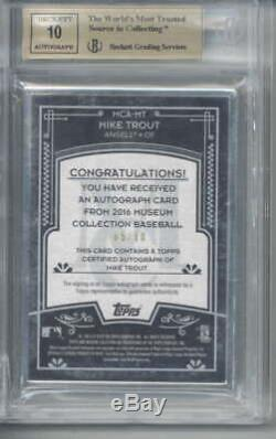Mike Trout Signed Auto 2016 Topps Museum Collection Framed Silver BGS 9.5 10