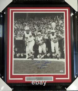 Pete Rose Autographed Framed 16x20 Photo Reds First Game 4-8-63 Psa/dna 90478