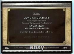 Richard Nixon 2020 Topps Transcendent Gold Framed Cut Signature Auto #1/1 POTUS