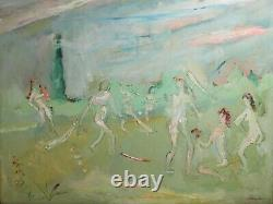 Sterling Strauser (American 1907 1995) Oil painting nudes playing Baseball