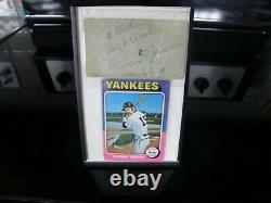 Thurman Munson autograph and baseball card in frame
