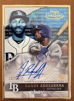 Topps Gold Label Auto Randy Arozarena #10 /50 Rc Tampa Bay Rays Framed Blue 2020