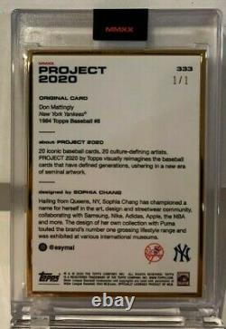 Topps PROJECT 2020 card #333 1984 Don Mattingly by Sophia Chang GOLD FRAME#d 1/1