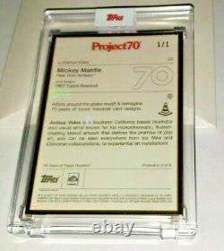 Topps Project70 1961 Mickey Mantle by Joshua Vides GOLD FRAME 1/1 #77 1ST MANTLE
