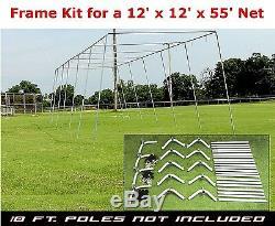 Trapezoid Batting Cage Frame Kit 12' x 12' x 55' Heavy Duty Baseball/Softball