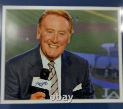 Vin Scully Autographed Signed Framed 8x10 Photo With Check Dodgers 98234