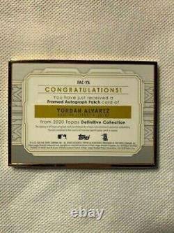 Yordan Alvarez 2020 Topps Definitive, Gold Framed Rookie Auto, RPA, 09/15
