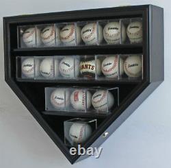 14 Softballs Ou Cubes De Baseball Vitrine Boîtier Rack Mural Maison Plaque En Forme