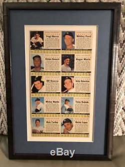 1961 Après Céréales Yankees De New York Uncut Équipe Fiche Archives Framed No Colle