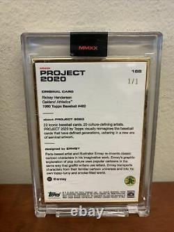 1 / 1 Gold Frame Topps Project 2020 Rickey Henderson Card #168 By Ermsy With Box