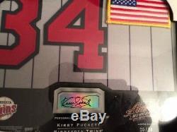 2002 Kirby Puckett Absolute Bonus De Signature Encadré 8 X 10 Jersey Auto Patch # 26/34